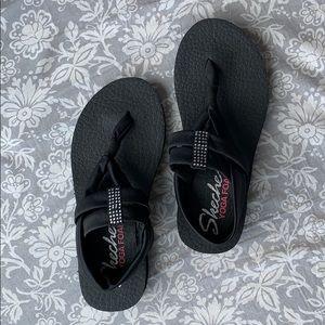 Skechers black Yoga Foam sandal with bling
